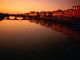 Sunset Over Arno River Seen from Ponte Santa Trinita  Florence  Italy