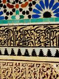 Decorative Tile Work on Mausoleum in Garden of Saadan Tombs  Marrakesh  Morocco