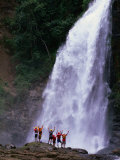 Tourists at Waterfall at Chiriqui Viejo River  Panama