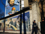 A Mural Depicting Middle Eastern Political Propaganda  Tehran  Iran