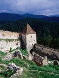Watchtower and walls of Rasnov Castle  Brasov  Romania