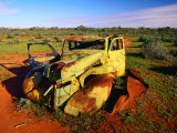 Abandoned Car on Salt Bush Plains Silverton  New South Wales  Australia