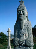 Statue at Burial Ground with Surrounding Tombstones  Masan  Gyeongsangnam-Do  South Korea