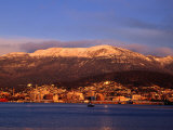 Hobart City Beside Derwent River and Below Mt Wellington  Hobart  Tasmania  Australia