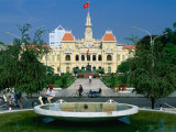 People Riding Bikes Past Fountain and Town Hall  Ho Chi Minh City  Ho Chi Minh  Vietnam