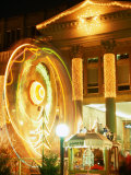Lit-Up Facade of Konigsbau and Ferris-Wheel During Christmas Market  Nuremberg  Germany