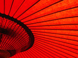Looking Through Red Bangasa  an Oiled Rice Paper Umbrella  Japan