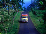 Bus on Country Road  Samoa