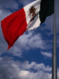 Large National Flag Flying in El Zocalo  Mexico City  Mexico