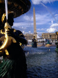 Fountain with Luxor Obelisk and Place De La Concorde in Background  Paris  France