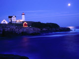 Nubble Lighthouse Alight Underneath Moon-Lit Sky  Cape Neddick  USA