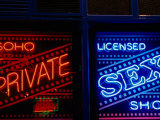 Neon Signs in Windows of Soho Sex Shop  London  United Kingdom