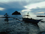 Outrigger Boats at Dusk in Sigaboy  Davao Oriental  Philippines  Southern Mindanao