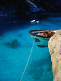 Boat in Water of Cala De Mariolu  Golfo Di Orosei  Italy