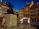 Children Playing Around Mermaid Statue in Rynek Starego Miasta  Warsaw  Poland
