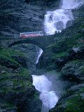 Bridge Crossing Waterfall on Trollstigen Road  Andalsnes  Norway