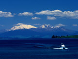 Boat Sailing with Mt Ruapehu  Mt Ngauruhoe and Mt Tongariro in Background  New Zealand