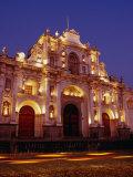 Facade of Cathedral De Santiago at Night  Antigua Guatemala  Guatemala