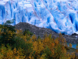 Autumn Colours and Icefall at Briksdalsbreen Glacier  Finnmark  Norway