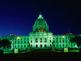 Minnesota State Capitol Lit Up at Night  Minneapolis  USA