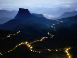 A Long Line of Lights Illuminates the Path to Adam's Peak During the Poya Festival  Sri Lanka