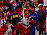 Group of School Children on Main Street of Daocheng  China