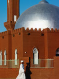 Man Walking Past Silver-Domed Mosque  Omdurman  Khartoum  Sudan