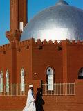 Man Walking Past Silver-Domed Mosque  Omdurman  Khartoum  Sudan