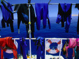 Wetsuits Drying on &quot;Live-Aboard&quot; Dive Boat in Straits of Gubal  Egypt