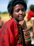 Portrait of Girl Riding Home from Market Near Tessenei  Eritrea