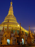 Schwedagon Pagoda Illuminated at Night  Yangon  Myanmar (Burma)