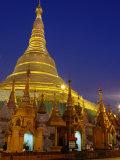 Schwedagon Pagoda Illuminated at Night  Yangon  Myanmar (Burma)