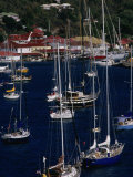 Yachts Moored in Harbour  Gustavia  St Barts