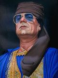 Painting of Libyan Leader Colonel Muammar Al-Gaddafi  Tripoli  Tarabulus  Libya