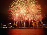 Fireworks Display Over Victoria Harbour for Chinese New Year  Hong Kong