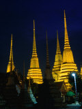 Brilliantly Lit Wat Phra Chetupon or Wat Po as It's Known  Bangkok  Thailand