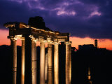 Granite Columns Illuminated Against Sky at Sunrise  Rome  Italy