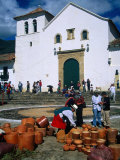 Market on Plaza Mayor with Parish Church in Background  Villa De Leyva  Boyaca  Colombia