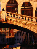 Detail of Ponte Di Rialto and Buildings along Grand Canal  Venice  Italy