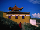 Tibetan Monastery and Monk  Zoige  Sichuan  China
