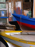 Detail of Hulls of Rinella Fishing Boats  Rinella  Sicily  Italy