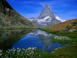 Matterhorn and the Riffelsee  Valais  Switzerland