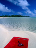 Goggles and Towel on Idyllic Beach and Lagoon  Aitutaki  Southern Group  Cook Islands