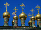 Golden Domes of Terem Palace  Kremlin  Moscow  Russia