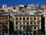 Buildings of Via Roma Facing Port  Cagliari  Sardinia  Italy