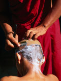 One Monk Shaving the Head of Another  Amarapura  Mandalay  Myanmar (Burma)