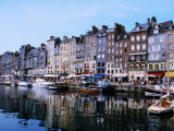 Boats and Buildings Reflected in Vieux Bassin  the Old Harbour  Honfleur  Basse-Normandy  France