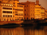 Buildings and Bridge along Arno River at Sunset  Seen from Oltrarno (South Bank)  Florence  Italy