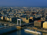 Elizabeth Bridge Crossing Danube River  with City Buildings in Background  Budapest  Hungary