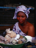 Female Spice Vendor at Market  Looking at Camera  Yamoussoukro  Cote d'Ivoire